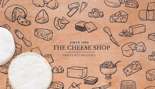 Fundo para loja de queijos com superfície de madeira