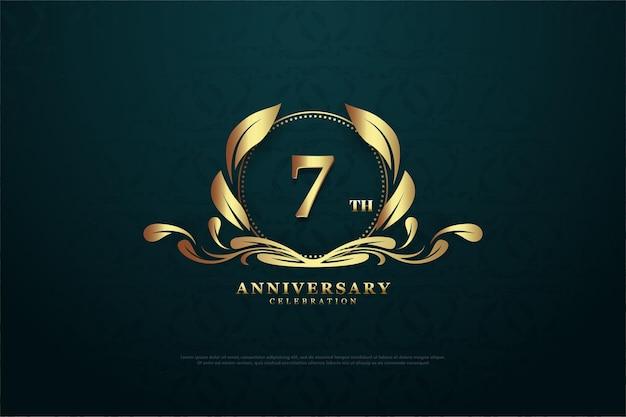 Fundo para o sétimo aniversário com logotipo com personagem próprio