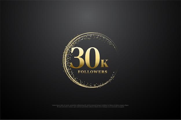 Fundo para trinta mil seguidores com faíscas circulares de ouro