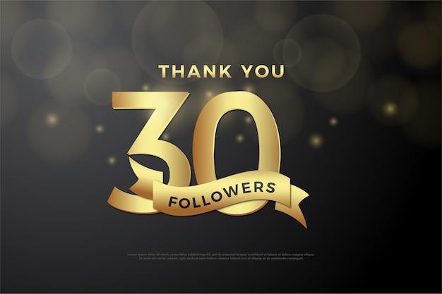 Fundo para trinta mil seguidores com fita de ouro