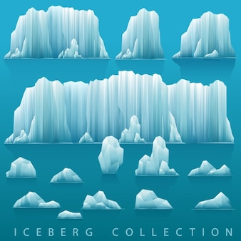 Fundo paralaxe de icebergs e mar