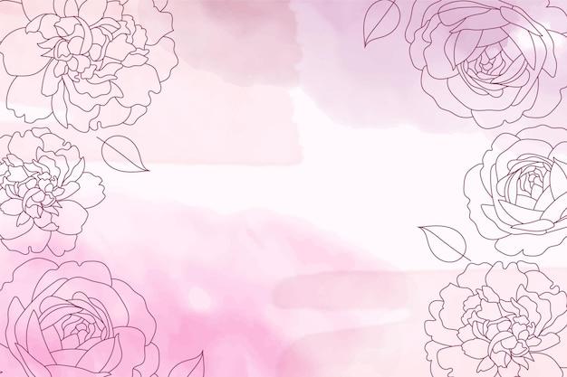 Fundo pastel aquarela roxo com elementos de flores desenhados à mão