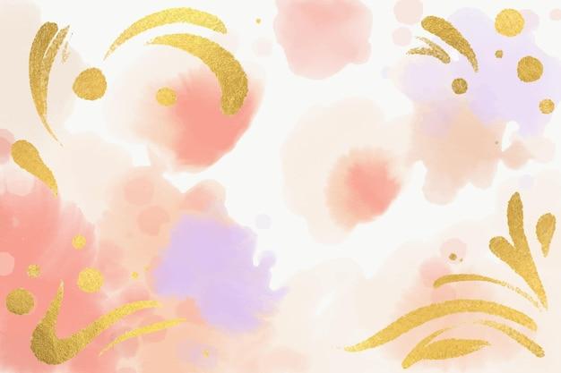 Fundo pastel com folha dourada em aquarela