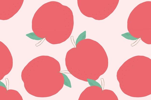 Fundo pastel do vetor sem costura maçã padrão