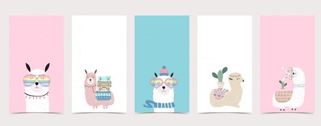 Fundo pastel fofo para mídia social. conjunto de história do instagram com lhama, alpaca