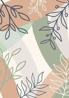 Fundo pastel minimalista abstrato orgânico com folhas, fundo estilo memphis