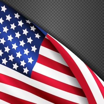 Fundo patriótico de vetor com eua americanos agitando bandeira