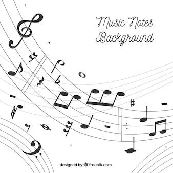 Fundo pentagram e notas musicais