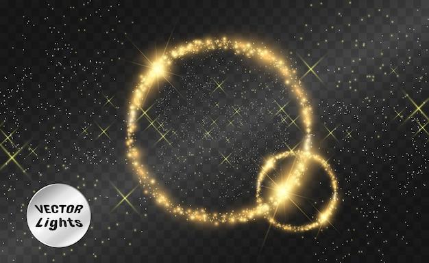 Fundo perfeito brilhante redondo. linda luz. círculo mágico. fundo precioso. moldura redonda ouro brilhante com rajadas de luz.