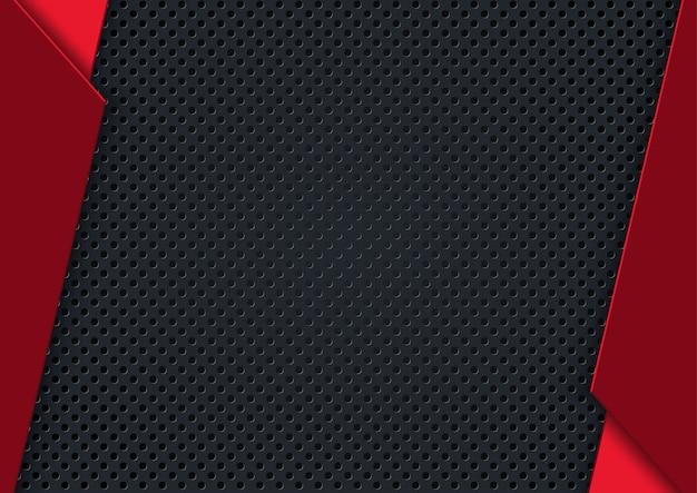 Fundo perfurado escuro com listras vermelhas