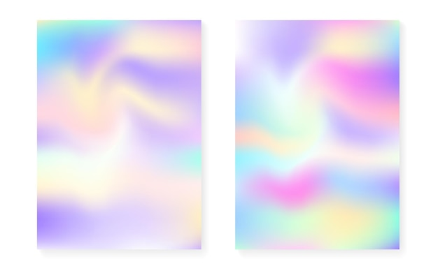 Fundo perolado com gradiente holográfico. conjunto de capa de holograma. estilo retro dos anos 90, 80. template gráfico para livro, anual, interface móvel, aplicativo da web. conjunto de plano de fundo perolado criativo.