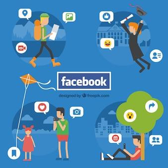 Fundo, pessoas, comunicar, facebook