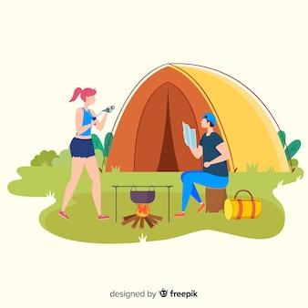 Fundo, pessoas, ir, acampamento