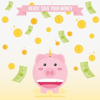 Fundo, piggy, banco, contas, moedas