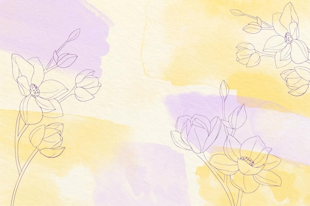 Fundo pintado à mão com flores desenhadas
