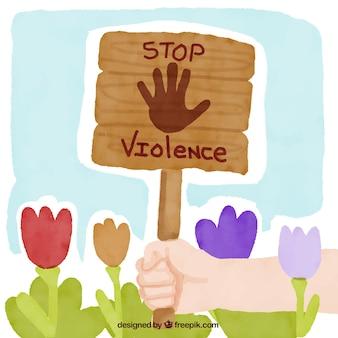 Fundo pintado à mão de flores e um sinal contra a violência