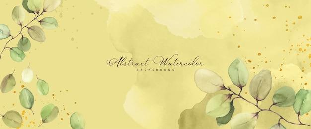 Fundo pintado à mão em aquarela abstrato para banner. manchas e folhas botânicas de flores moldam o vetor em aquarela para banner, cabeçalho, capa ou web de verão. pincel incluído no arquivo.