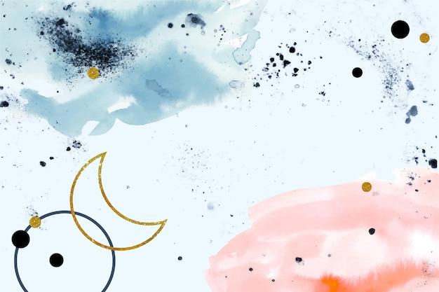 Fundo pintado em aquarela com elementos dourados
