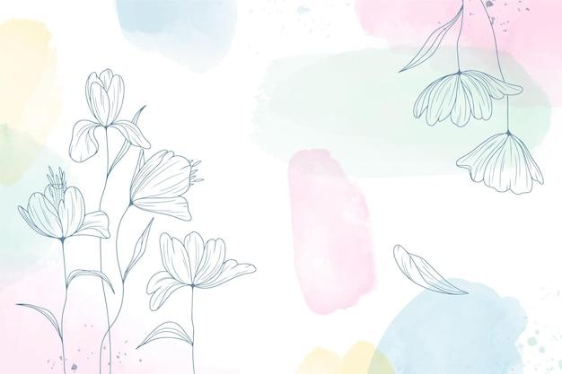 Fundo pintado em aquarela com flores desenhadas à mão