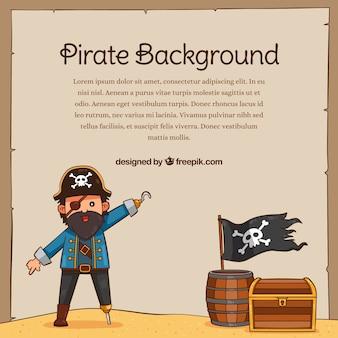 Fundo pirata e outros elementos desenhados à mão