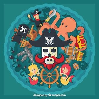Fundo, pirata, elementos, crânio