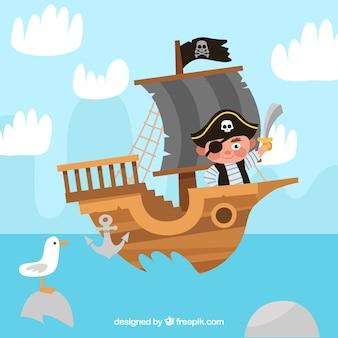 Fundo, pirata, menino, bote