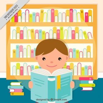 Fundo plana do menino bonito de ler um livro
