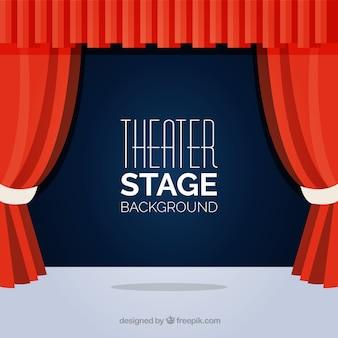 Fundo plana do palco do teatro com cortinas vermelhas
