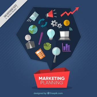 Fundo planejamento de marketing no design plano