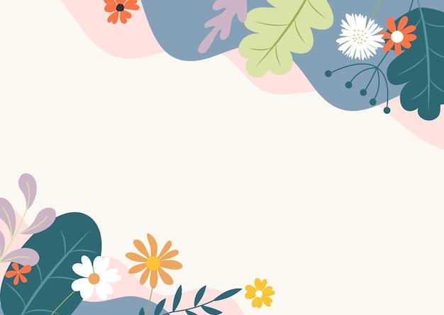 Fundo plano abstrato de primavera e verão com flores