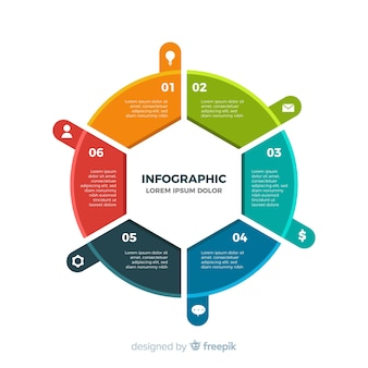 Fundo plano colorido infográfico