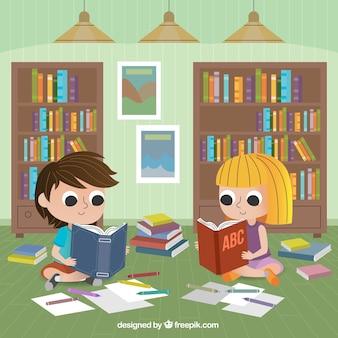 Fundo plano com crianças sentadas no chão e lendo
