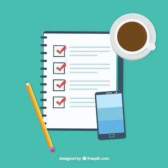 Fundo plano com lista de verificação, copo de café e telefone móvel