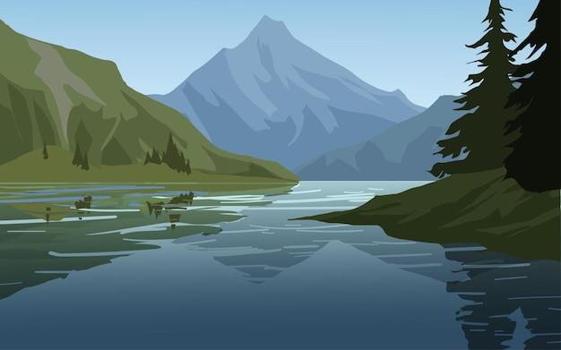 Fundo plano com montanha e lago