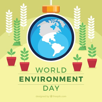 Fundo plano com plantas para o dia mundial do meio ambiente