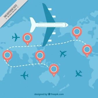 Fundo plano com pontos de referência e aviões