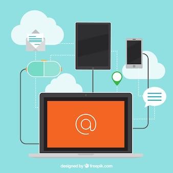 Fundo plano com processos laptop e comunicação