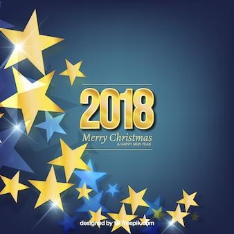 Fundo plano de ano novo com estrelas douradas