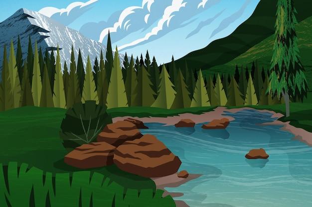 Fundo plano de aventura com rio