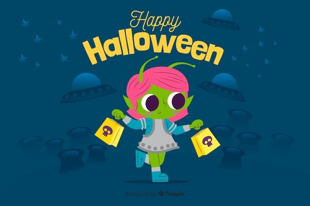 Fundo plano de halloween com alienígena bonito