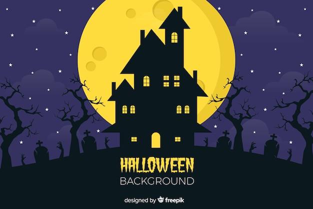 Fundo plano de halloween com casa assustadora