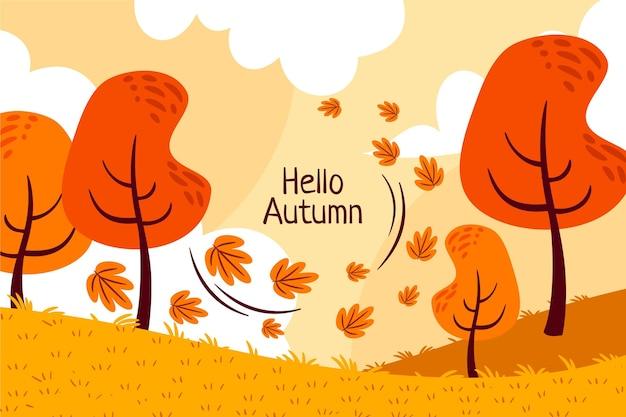 Fundo plano de outono desenhado à mão