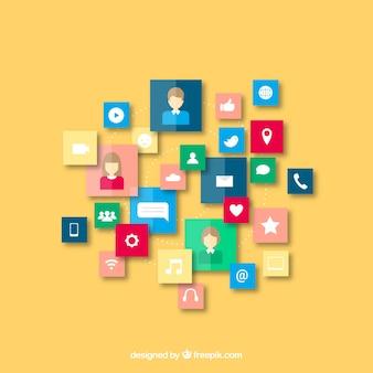 Fundo plano de quadrados coloridos com itens de mídia social