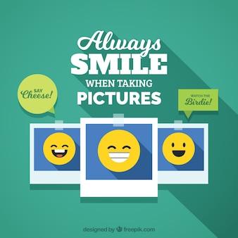 Fundo plano de várias fotos com emoticons