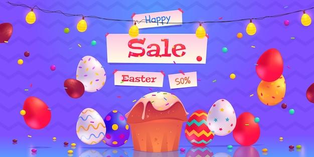Fundo plano de venda de páscoa ilustrado