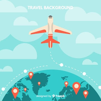 Fundo plano de viagem de avião