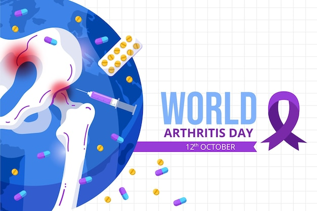 Fundo plano desenhado à mão para o dia da artrite