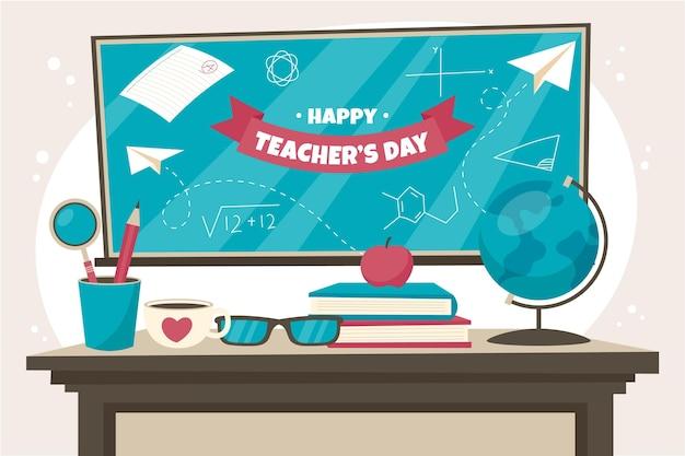 Fundo plano desenhado à mão para o dia dos professores Vetor grátis
