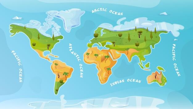 Fundo plano do mapa mundial com ilustração da inscrição do ártico pacífico atlântico oceano índico