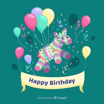 Fundo plano feliz aniversário com balões